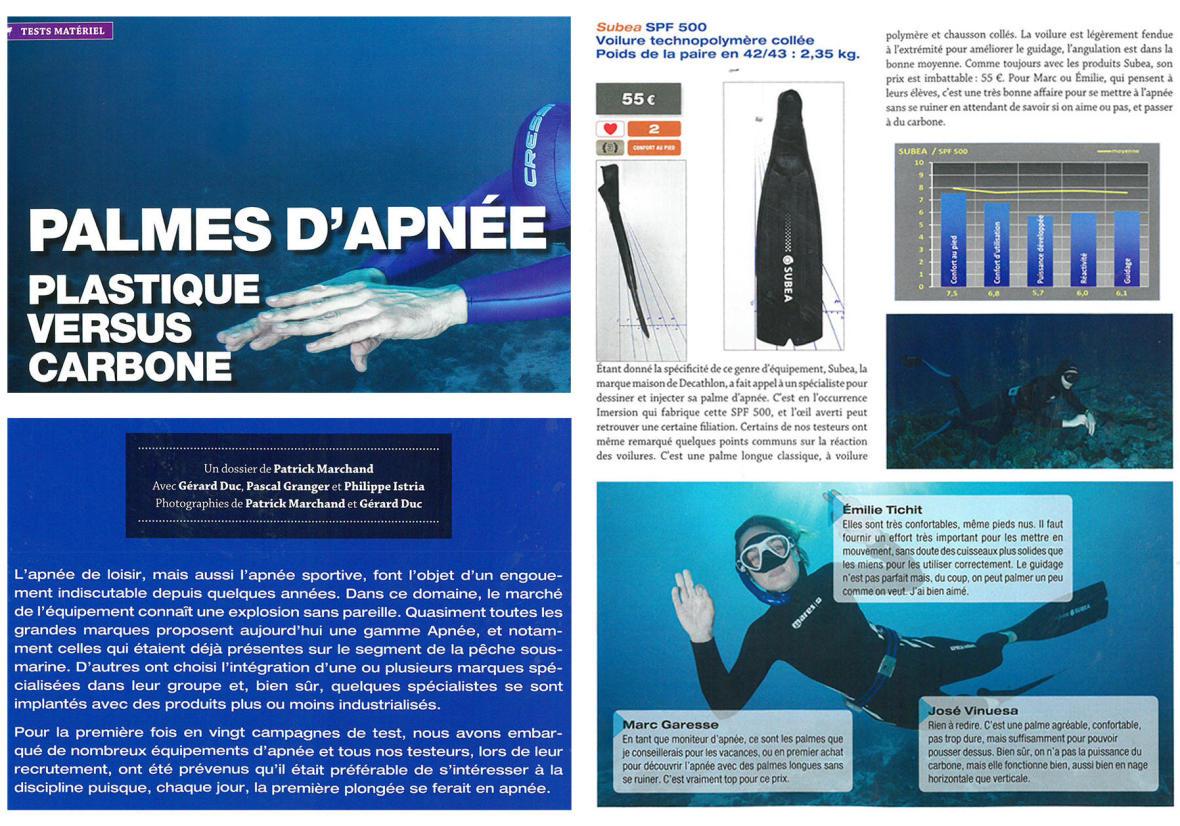 palmes d'apnée chasse sous-marine subea test plongeurs international article