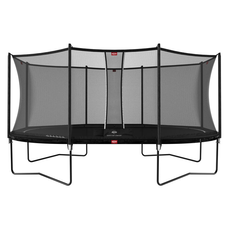 Trampoline ovale Favorit Regular noir 520 cm avec Filet de sécurité Comfort