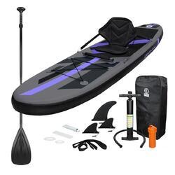 Opblaasbaar Stand Up Paddle Board zwart met kajakzitje  305 x 78 x 15 cm
