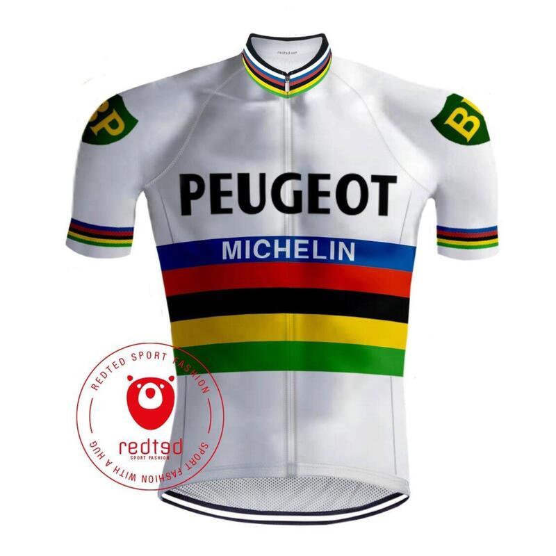Maillot Cyclisme Vintage Peugeot Arc en ciel - RedTed