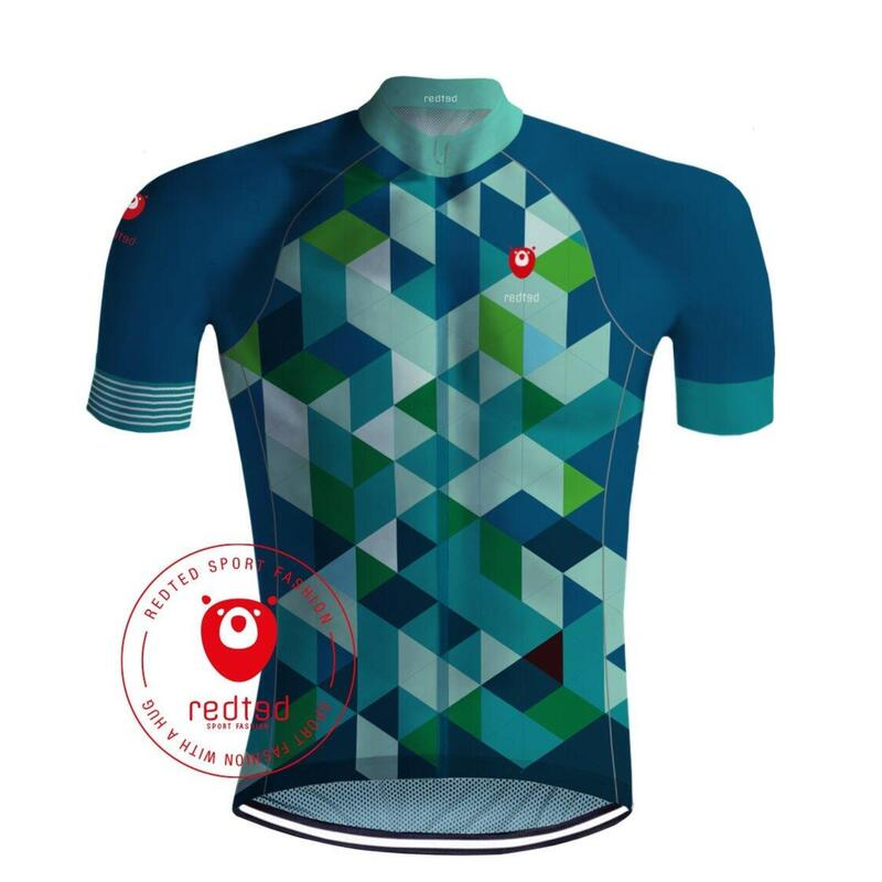 MAILLOT CYCLISME CUBES BLUE / VERT – REDTED