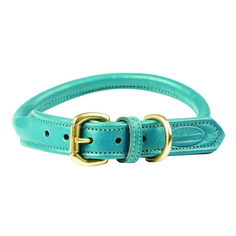 Collier cuir Chien (Bleu clair)