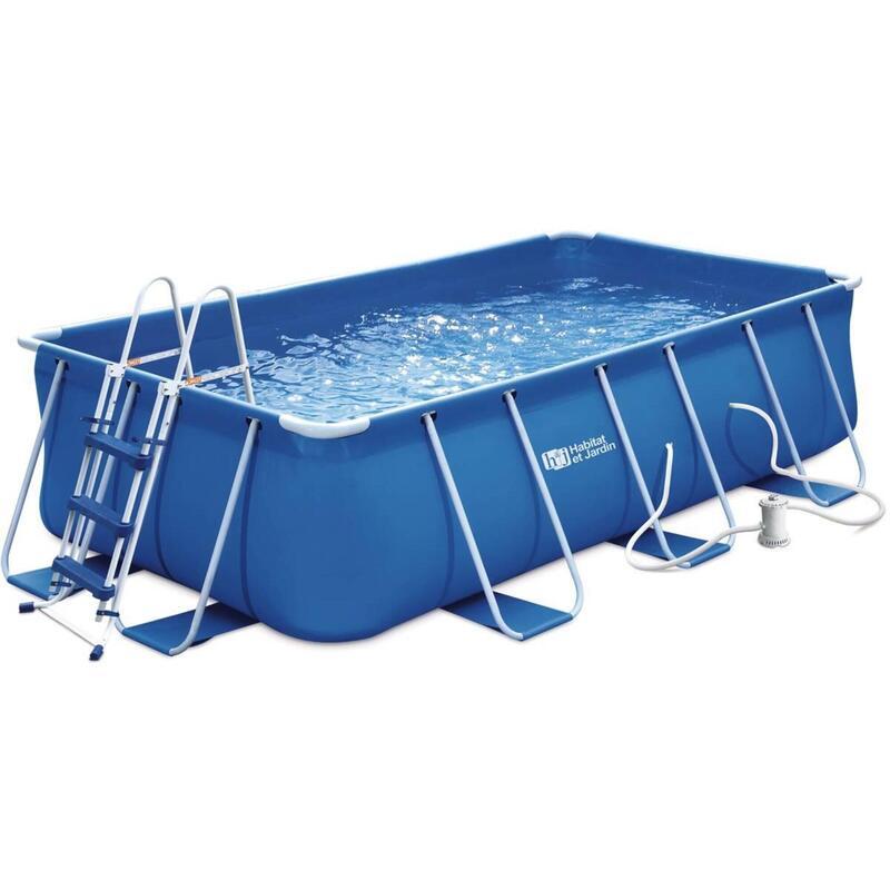 Piscine tubulaire rectangulaire bleue - LUDO 1 - 4 x 2 x 1 m - Filtration à cart