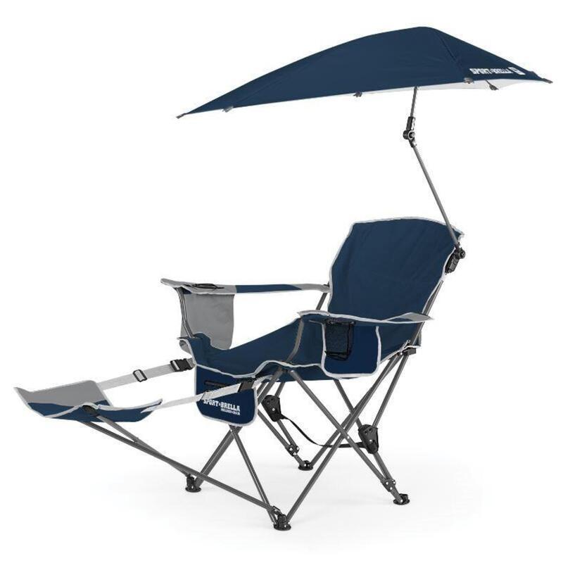 Chaise de camping ajustable Sport-Brella - Chaise de plage avec parasol - Bleu