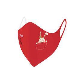 Wasbare barrièremaskers covid-19 voor kinderen konijn rood