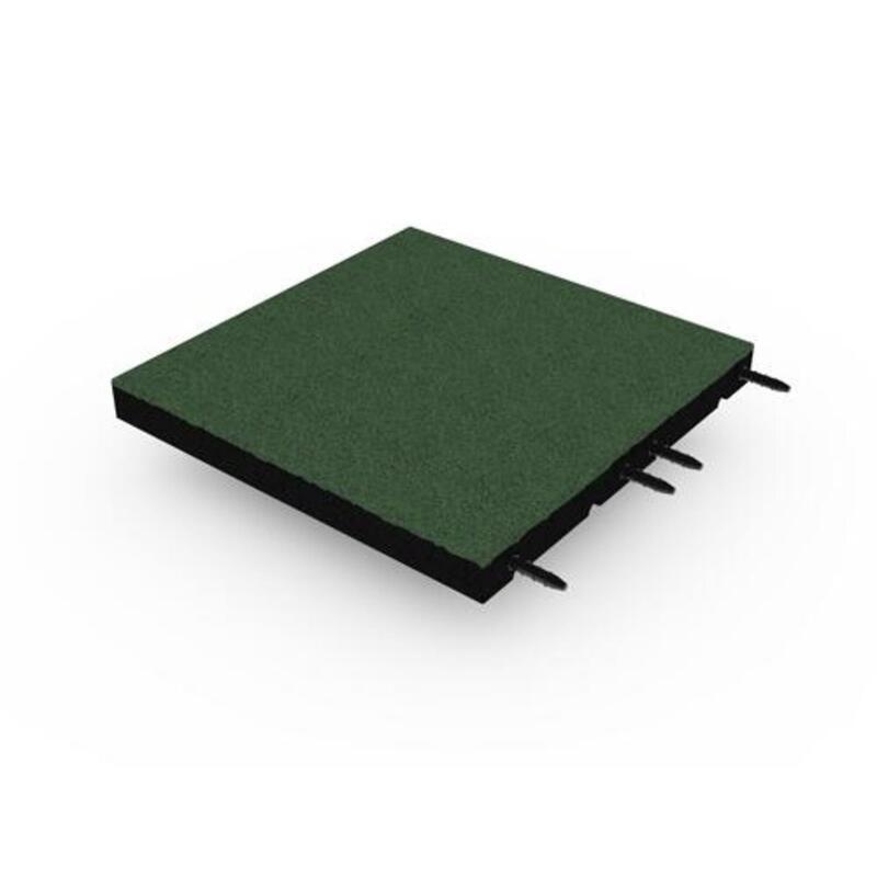 Baldosa de goma con junta de mortaja y espiga 50x50 cm - 55 mm - Verde