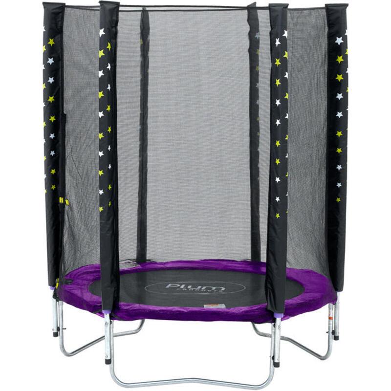Plum trampoline Stardust met veiligheidsnet paars 4,5ft