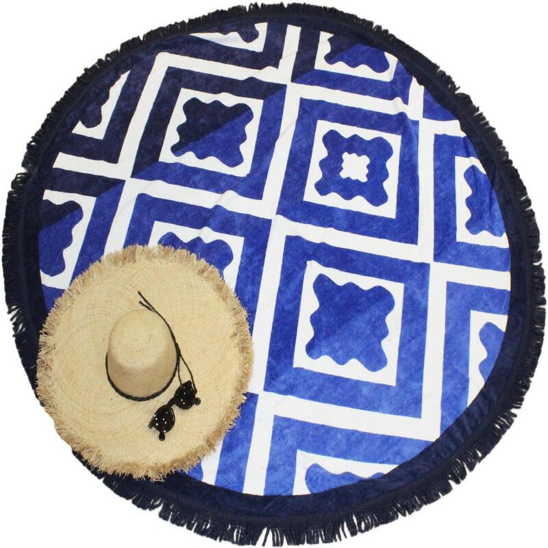 Serviette de plage imprimée ronde Seramiko 100% coton