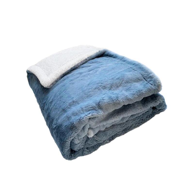 Fleece Plaid met blauw-grijze konijnenvoering en schapenvacht XL 220 x 240