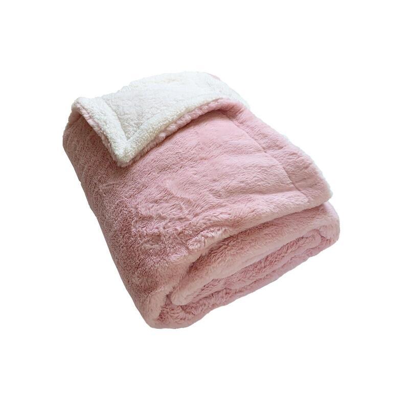 Fleece Doek imitatie konijn roze gevoerd imitatie schaap XL 220 x 240