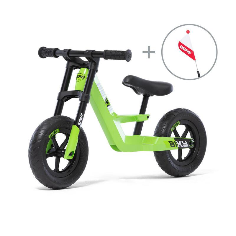 Vélo d'équilibre Biky Mini Vert avec drapeau de sécurité