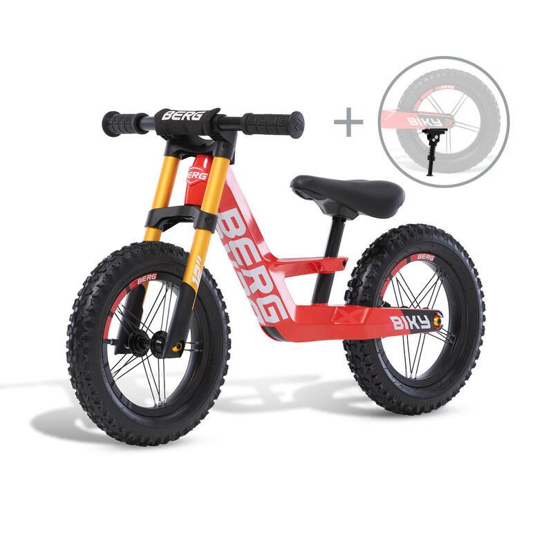 Vélo d'équilibre Biky Cross Rouge avec béquille