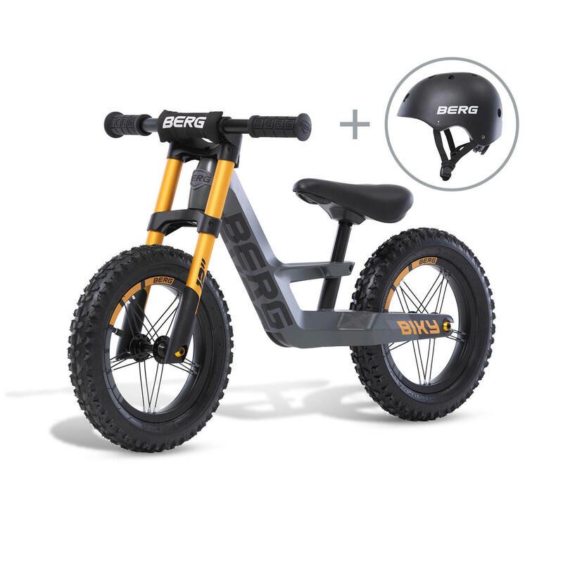 Vélo d'équilibre Biky Cross Gris avec casque
