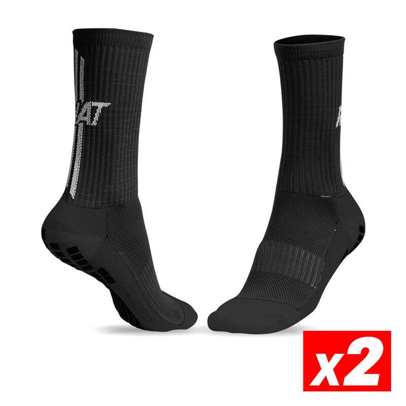 ANTI-SLIP SOCKS Calcetín antideslizante deportivo Adulto Negro Pack 2