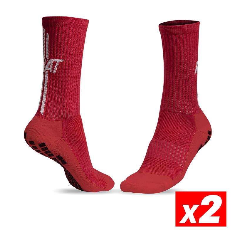 ANTI-SLIP SOCKS Calcetín antideslizante deportivo Adulto Rojo Pack 2