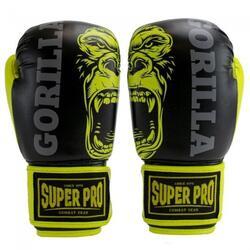 Gants de boxe pour enfants Super Pro Gorilla - Noir / Jaune - 10 oz