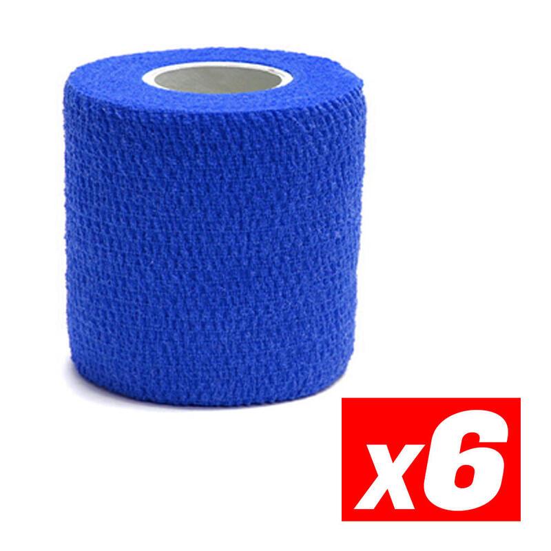 COHESIVE TAPE Cinta cohesiva deportiva de compresión Azul Pack 6
