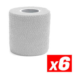 COHESIVE TAPE Fita de compressão desportiva coesiva Branco Pacote 6