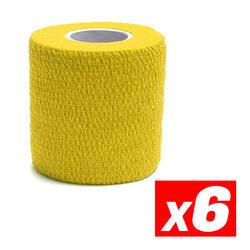 COHESIVE TAPE Fita de compressão desportiva coesiva Amarelo Pacote 6