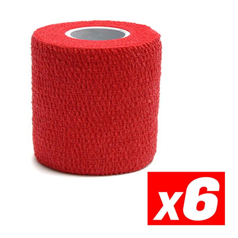 COHESIVE TAPE Cinta cohesiva deportiva de compresión Rojo Pack 6