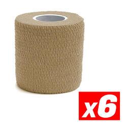 COHESIVE TAPE Fita de compressão desportiva coesiva Bege Pacote 6