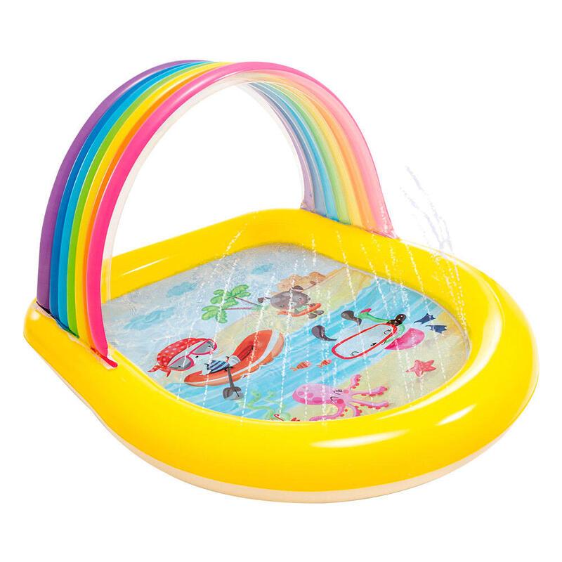 Piscina infantil arco iris con toldo y aspersor INTEX