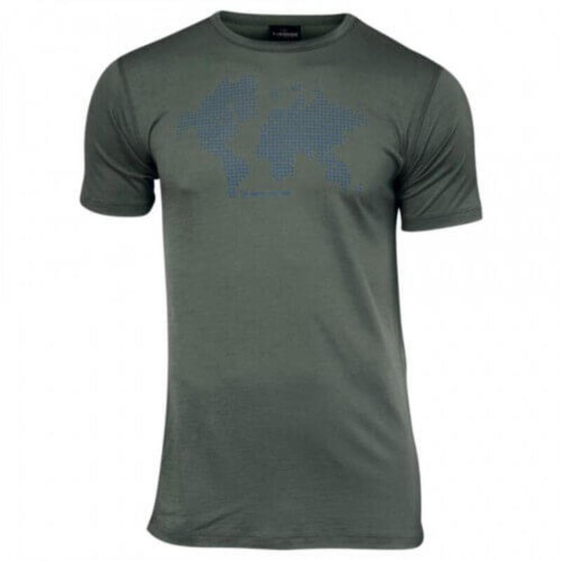 T-shirt Agaton Earth voor heren van 100% merino wol - Groen