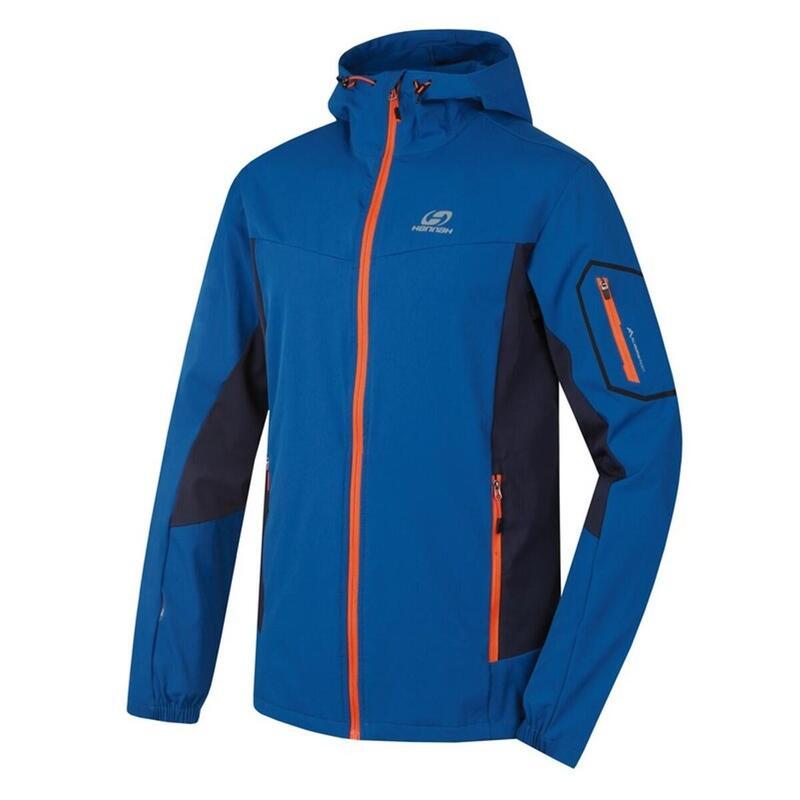 Heren softshell jack Ramsey Mykonos Blue - Blauw - Oranje