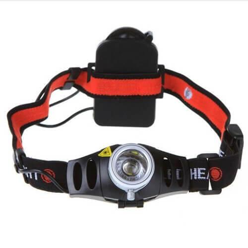Zoombare hoofdlamp Ultra Bright 500 Lumen CREE Q5 LED- Zwart