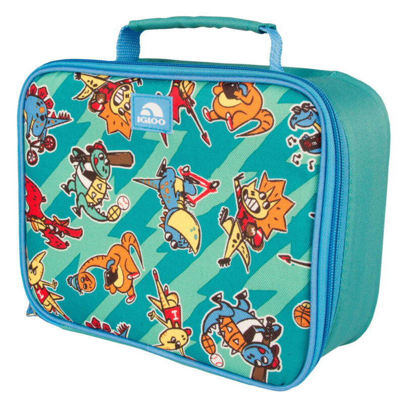 Nevera de tela infantil Camping y Senderismo IGLOO LUNCH BOX DINOS turquesa