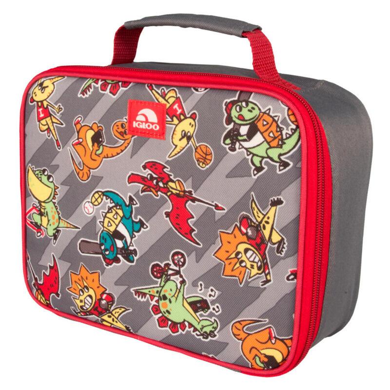 Nevera de tela infantil Camping y Senderismo IGLOO LUNCH BOX DINOS gris