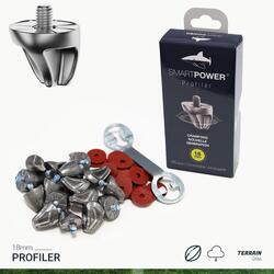 Kit de 16 crampons aluminium PROFILER 18 mm avec la clée