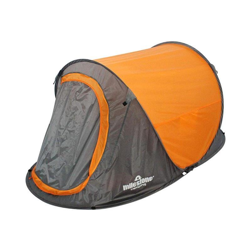 Milestone 2 Man Foldable Festival Pop-Up Tent With UV50+ Protection Orange