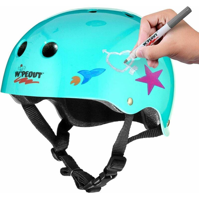 Wipeout Kids Bike Scooter Skate Helmet - Create own designs - Teal 5+