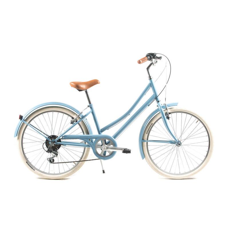 """Bicicleta de paseo retro Capri Carolina 24"""" Azul 6V"""