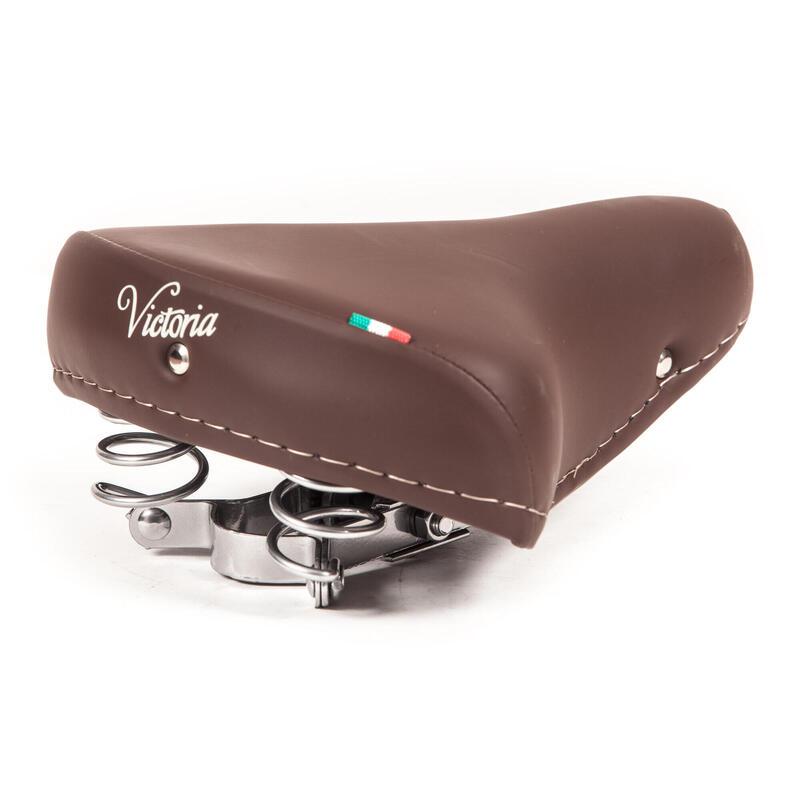 Selle de vélo Victoria avec ressorts chromés - brun foncé