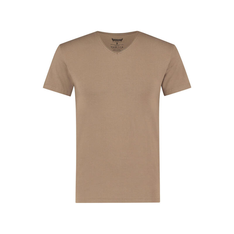 T-shirt Moksha - Col en V à la hanche, doux et confortable  Inca Cacao