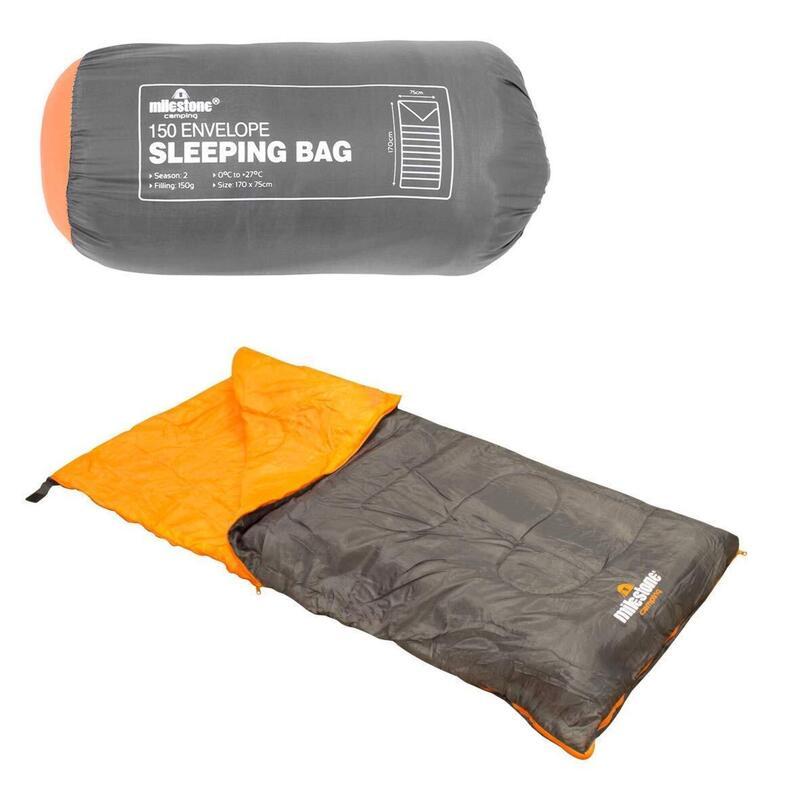 Milestone Envelope 2 Season Sleeping Bag Single Grey 170 x 75cm
