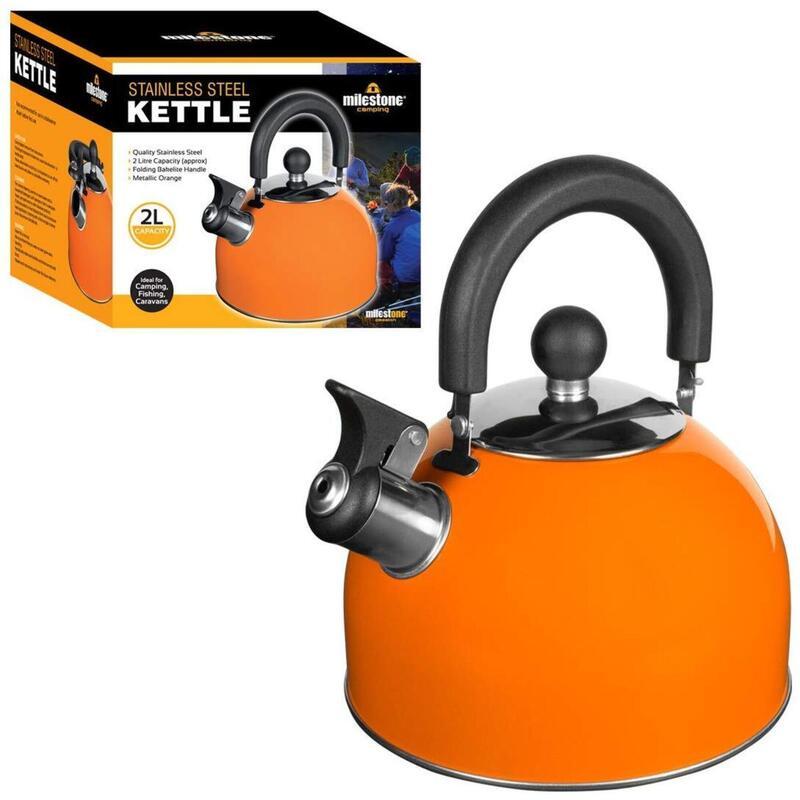 Milestone Stainless Steel Whistling Camping Kettle Metallic Orange 2L