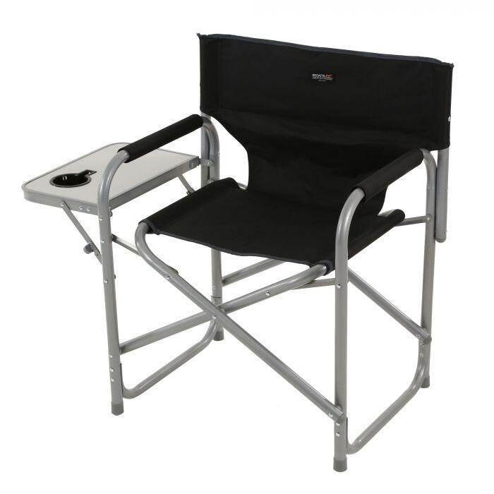Regatta Sedile Directors Folding Chair With Side Table Black/Seal Grey
