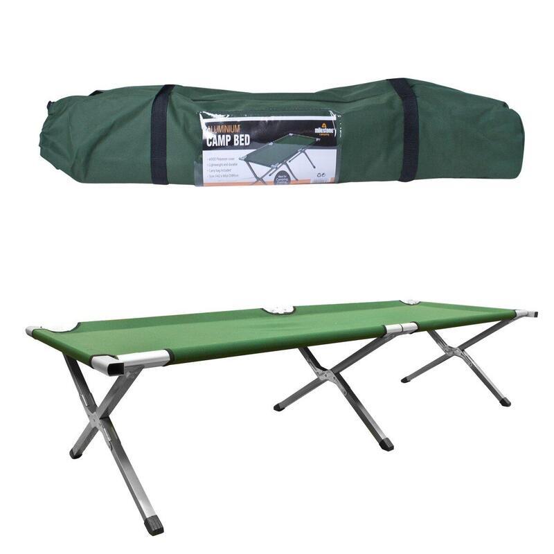 Milestone 3 Leg Folding Aluminium Camping Bed Green 189 x 64 x 42cm