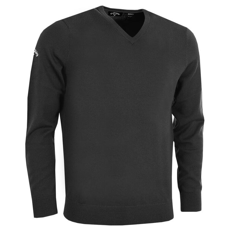 Mens Ribbed V Neck Merino Sweater (Black Onyx)