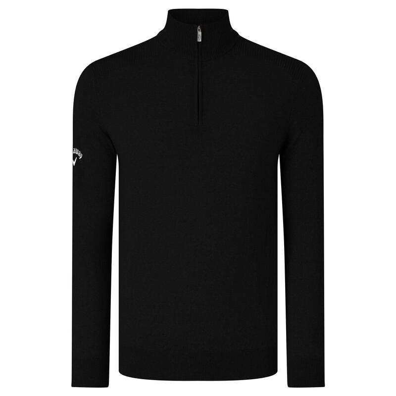 Mens Ribbed Zip Merino Sweater (Black Onyx)