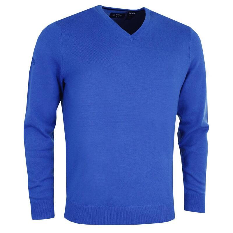 Mens Ribbed V Neck Merino Sweater (Surfing Blue)