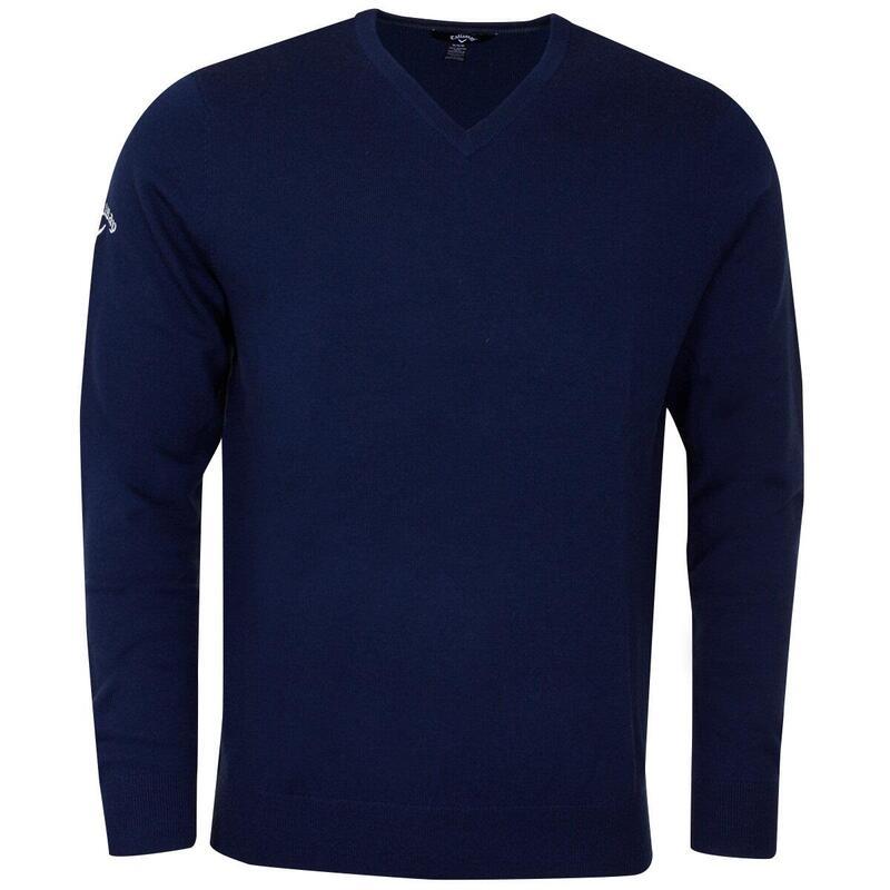 Mens Ribbed V Neck Merino Sweater (Peacoat Navy)