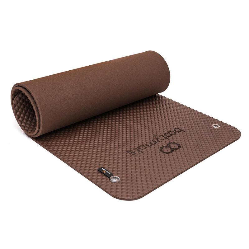 Esterilla de gran tamaño para ejercicios de Pilates de suelo. 180x60cm. Marrón