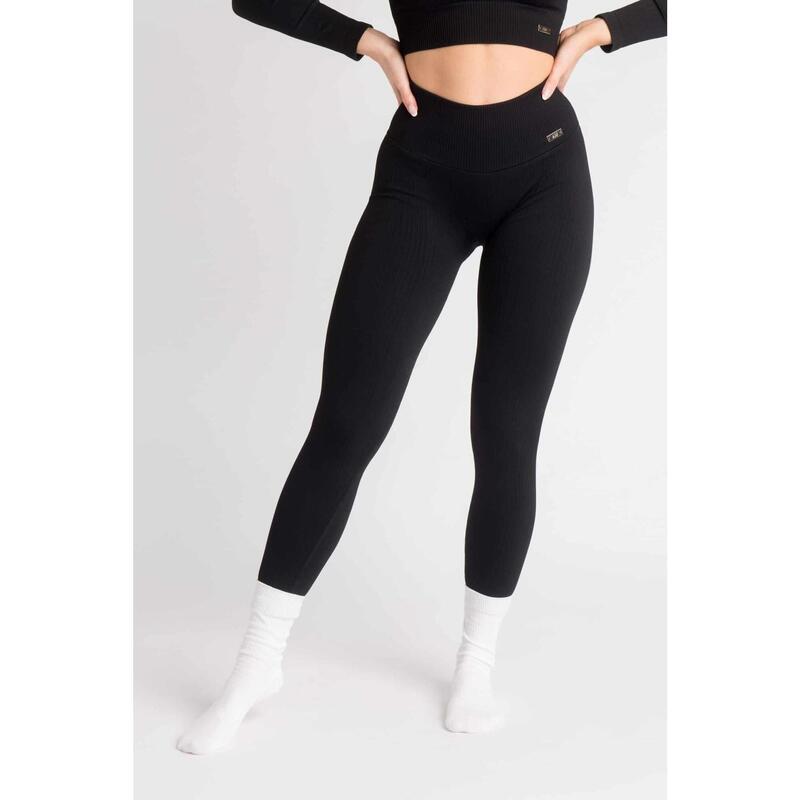 Ribbed Seamless Legging Fitness - Femme - Noir