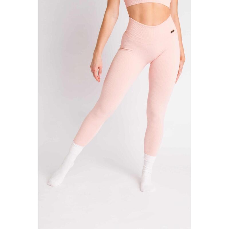Ribbed Seamless Legging Fitness - Femme - Rose