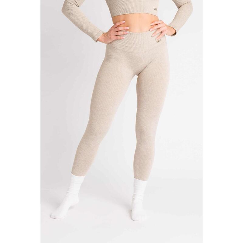 Ribbed Seamless Legging Fitness - Femme - Beige