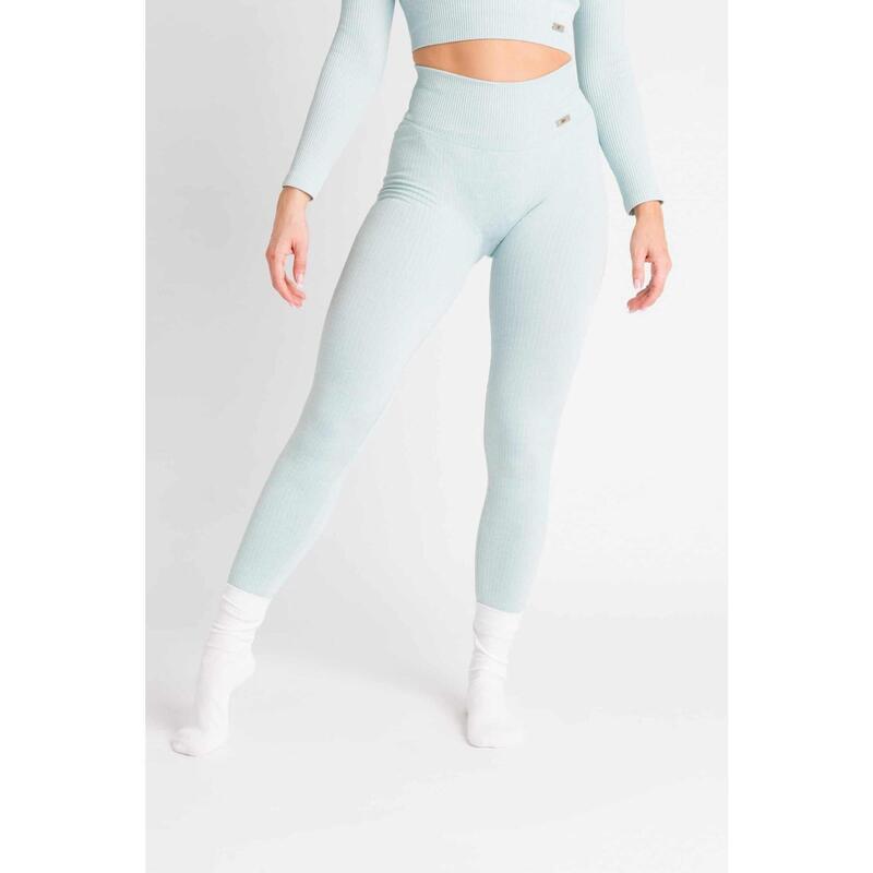 Ribbed Seamless Legging Fitness - Femme - Bleu